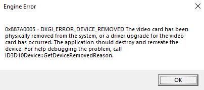DXGI device hung Error
