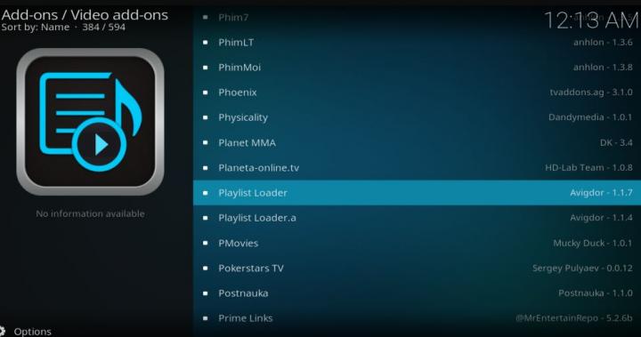 Kodi Playlist Loader Links