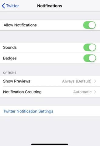 twitter notifications not working